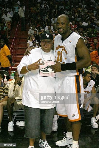 Fat Joe and Alonzo Mourning during Alonzo Mourning's Summer Groove All Star Basketball Game July 16 2005 at American Airline Arena in Miami Florida...