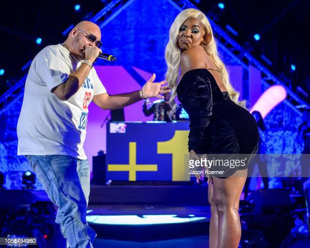 Fat Joe and Ashanti perform on stage during MTV's 2018 Election Afterparty at Miami Dade College on November 6, 2018 in Miami, Florida.