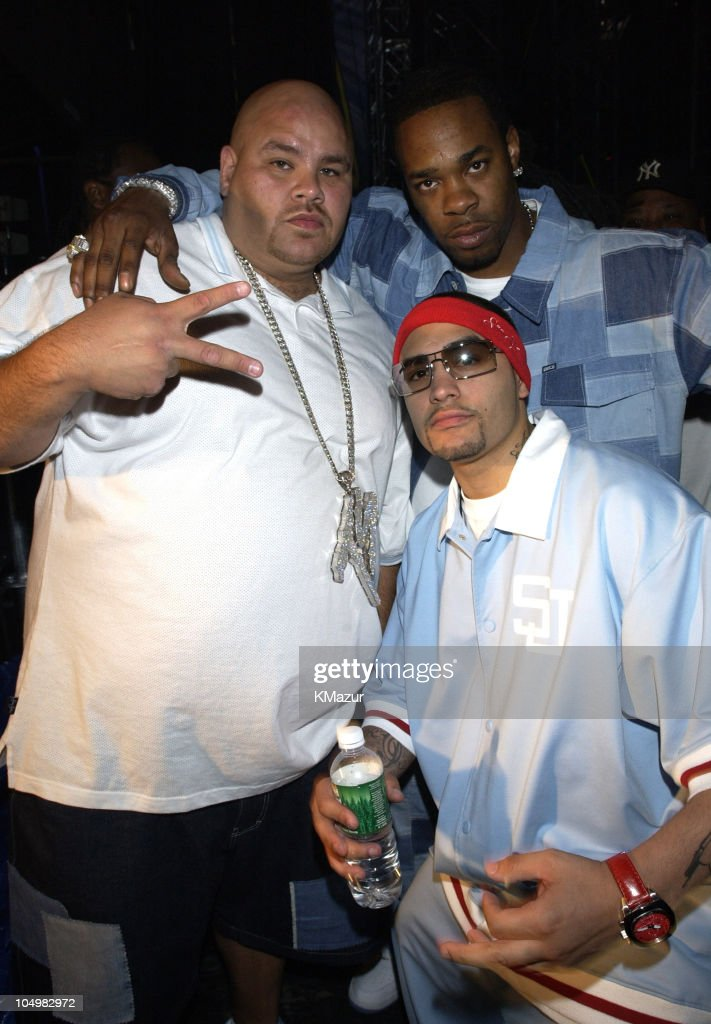Fat Joe and Busta Rhymes during Z100's Zootopia 2002 - Backstage with the New Jersey Nets & New York Yankees at Giants Stadium in East Rutherford, New Jersey, United States.