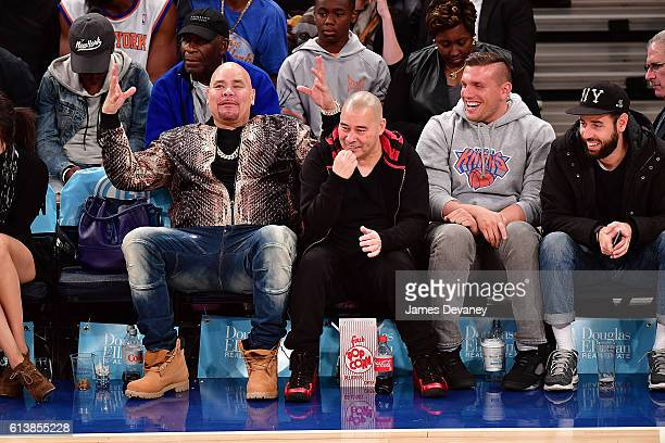 Fat Joe and Chris Distefano attend New York Knicks vs Washington Wizards preseason game at Madison Square Garden on October 10 2016 in New York City