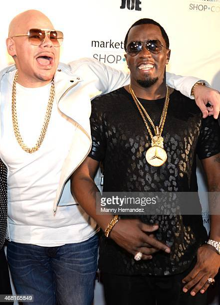 Fat Joe and P Diddy attends Team Fat Joe Celebrates Market America on February 8 2014 in Miami Beach Florida