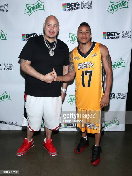 Fat Joe and Rotimi pose backstage at the Celebrity Basketball Game presented by Sprite and State Farm during the 2017 BET Experience at Staples...