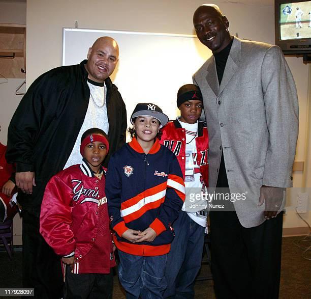 Fat Joe Kids and Michael Jordan and guests during 2005 Michael Jordan Classic Basketball Game April 16 2005 in New York City New York United States