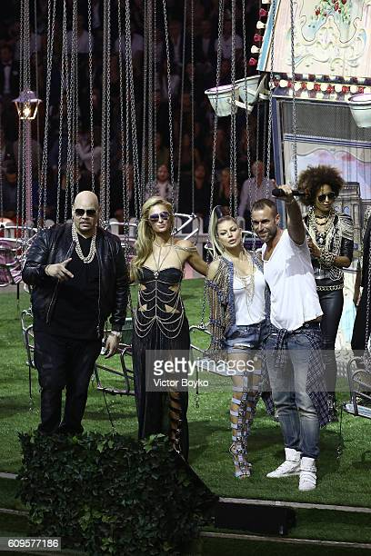 Fat Joe Paris Hilton Fergie and Philipp Plein acknowledge the aaplause of the audience at the Philipp Plein show during Milan Fashion Week...
