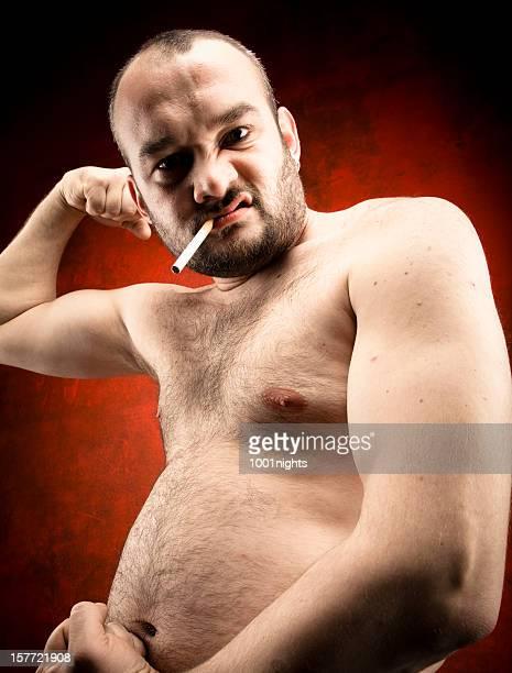 Fett Mann mit Zigarette