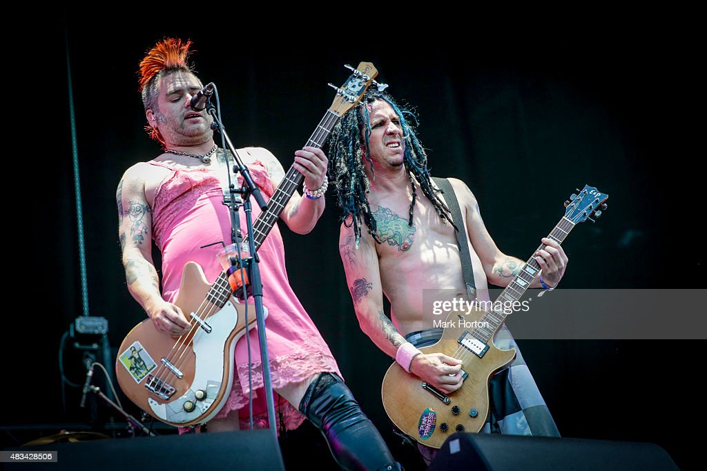 Fat Mike and Eric Melvin of NOFX perform on Day 2 of the Heavy Montreal Festival at Parc Jean-Drapeau on August 8, 2015 in Montreal, Canada.