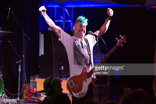 Fat Mike of NOFX performs onstage at Old National Centre on September 18 2012 in Indianapolis Indiana