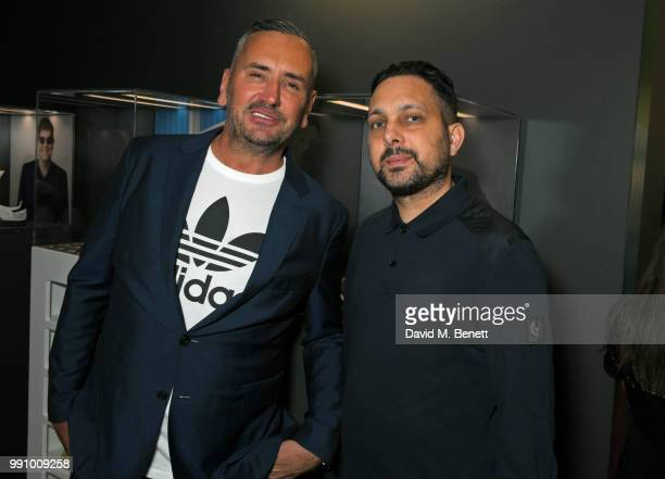 Fat Tony and Dynamo attend adidas 'Prouder' A Fat Tony Project in aid of the Albert Kennedy Trust supporting LGBT youth at Heni Gallery Soho on July...