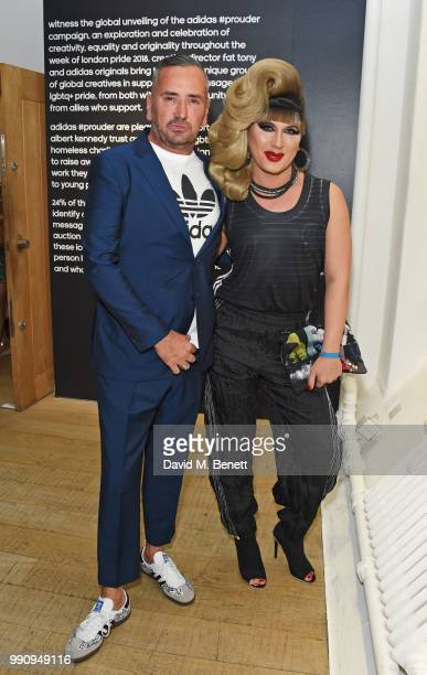 Fat Tony and Jodie Harsh attend adidas 'Prouder' A Fat Tony Project in aid of the Albert Kennedy Trust supporting LGBT youth at Heni Gallery Soho on...