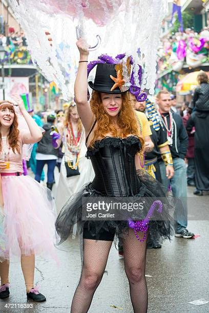fat tuesday costume in new orleans - mardi gras fun in new orleans stock photos and pictures