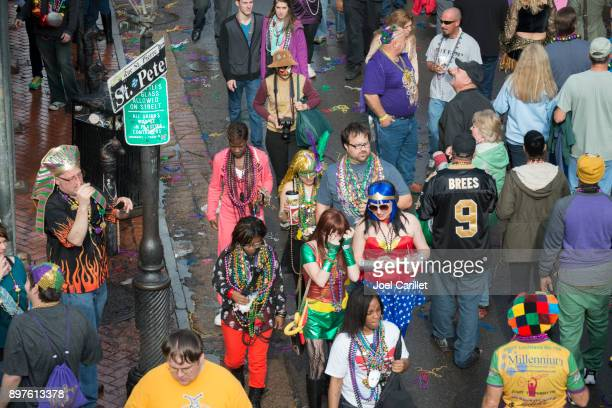 fat tuesday in new orleans, louisiana - mardi gras fun in new orleans stock photos and pictures