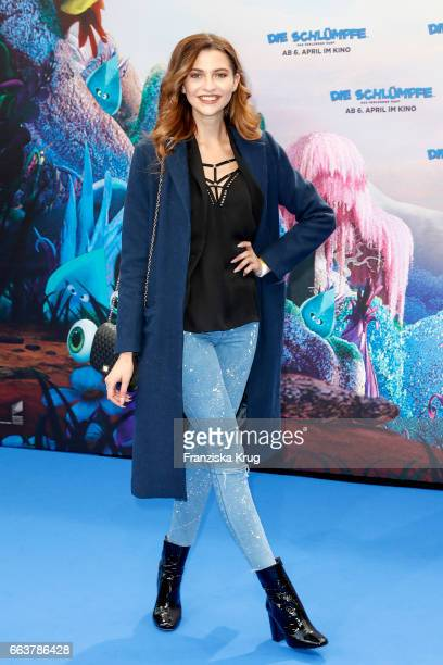 Fata Hasanovic attends 'Die Schluempfe Das verlorene Dorf' Berlin Premiere at Sony Centre on April 2 2017 in Berlin Germany