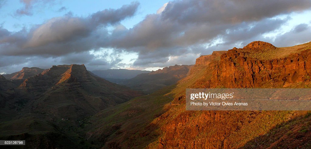 Fataga Canyon at Sunset- Gran Canaria : Foto de stock