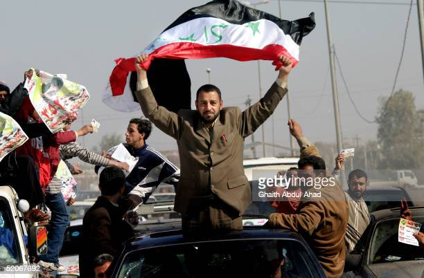 Fatah alSheikh a candidate in the Iraqi national election campaigns January 26 2005 in Sadr City Baghdad Iraq Campaigning is in final stages with...