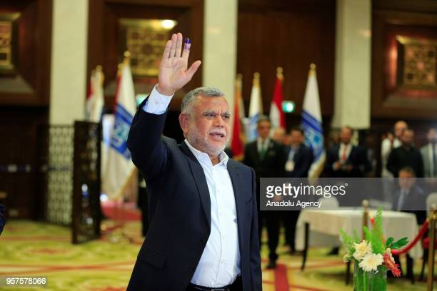 Fatah Coalition leader Hadi alAmiri casts his vote for the Iraqi parliamentary election at the Al Rasheed Hotel in Baghdad Iraq on May 12 2018