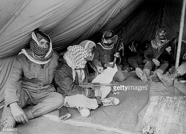 Fatah militiamen rest under a tent close to the Jordan river in Jordan 04 November 1969 After Israeli army started a lightning war in Syria Sinan and...