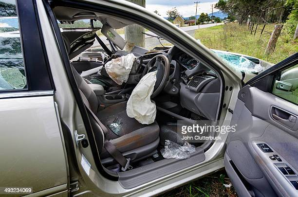 fatal car crash aftermath - airbag foto e immagini stock