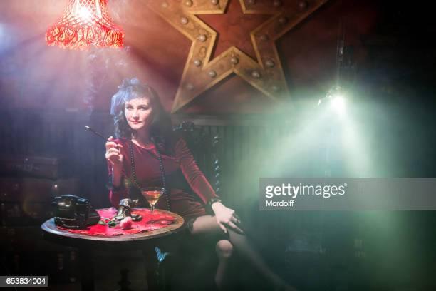 Fatal Woman In Red Velvet Dress