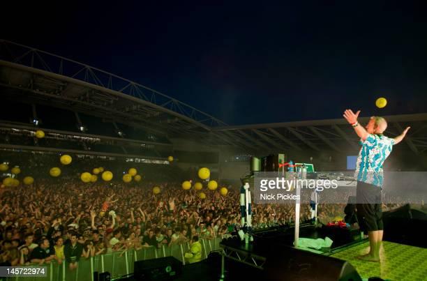 Fatboy Slim performs at Amex Stadium on June 2 2012 in Brighton England