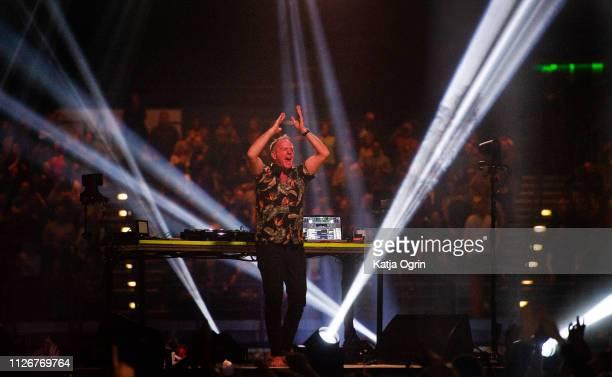 Fatboy Slim performs at Arena Birmingham on February 22 2019 in Birmingham England