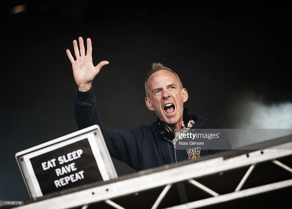 Fatboy Slim performs on stage on Day 2 of Rockness Festival 2013 at Clune Farm, Loch Ness on June 8, 2013 in Inverness, Scotland.