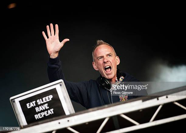 Fatboy Slim performs on stage on Day 2 of Rockness Festival 2013 at Clune Farm Loch Ness on June 8 2013 in Inverness Scotland