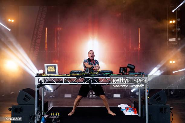 Fatboy Slim performs on the AO Live Stage on day seven of the 2020 Australian Open at Melbourne Park on January 26, 2020 in Melbourne, Australia.