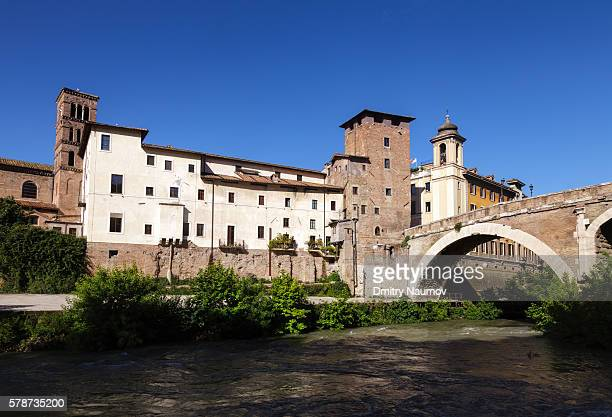 Fatebenefratelli Hospital and the Pons Fabricius bridge on the Tiber Island in Rome Italy