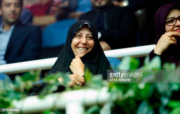 Fatemeh Hashemi Rafsanjani the daughter of late Iranian president Akbar Hashemi Rafsanjani attends a campaign rally of presidential candidate Hassan...