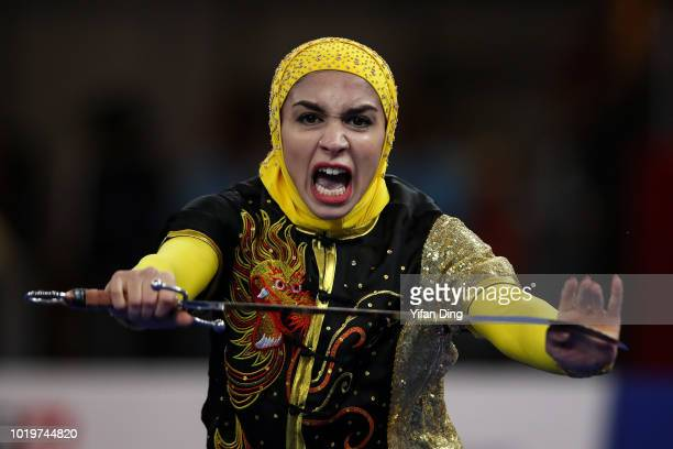 Fatemeh Heidari of Iran competes during women's Nandao on day two of the Asian Games on August 20, 2018 in Jakarta, Indonesia.