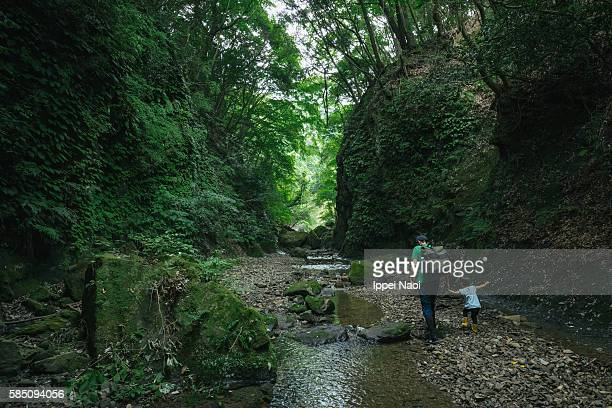 father and child hiking together in a forest stream - daughters of darkness stock pictures, royalty-free photos & images