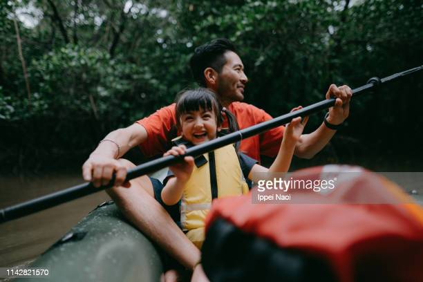 father and child paddling kayak together in mangrove swamp, japan - avontuur stockfoto's en -beelden