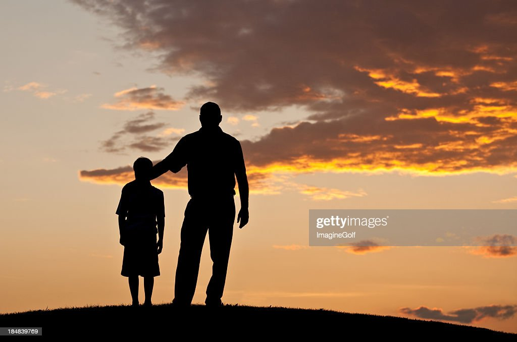 Father and Child Silhouette : Stock Photo