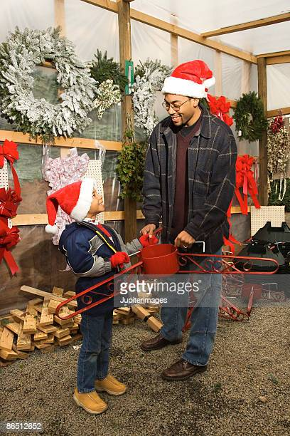 Father and child with Christmas tree stand
