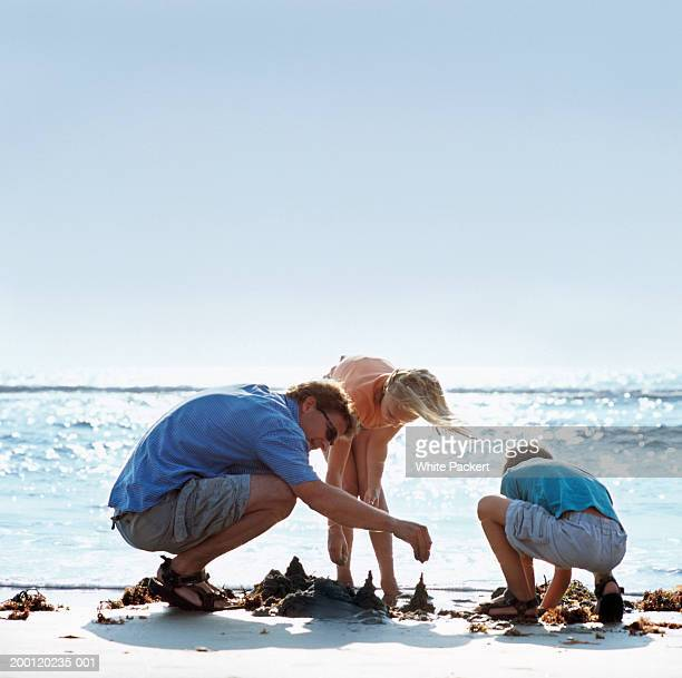 father and children (9-13) making sand castles at beach - man bending over from behind stock photos and pictures