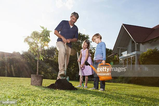 Father and children planting tree in garden