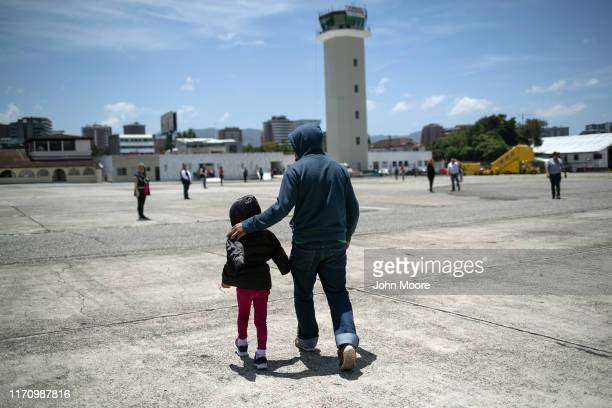 Father and daughter arrive on an ICE deportation flight from Brownsville, Texas on August 29, 2019 to Guatemala City. Under a new policy, ICE has...