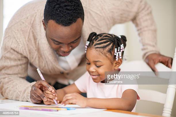 father and daughter arts and crafts - fathers day stock pictures, royalty-free photos & images