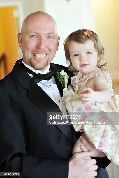 father and daughter at wedding reception - utah wedding stock pictures, royalty-free photos & images