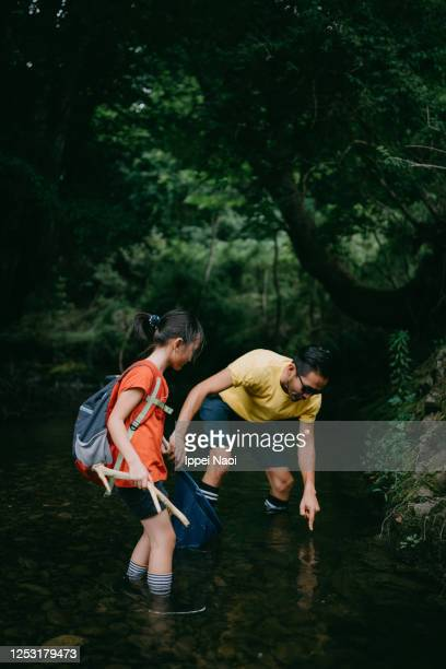 father and daughter catching fish in river - ippei naoi stock pictures, royalty-free photos & images