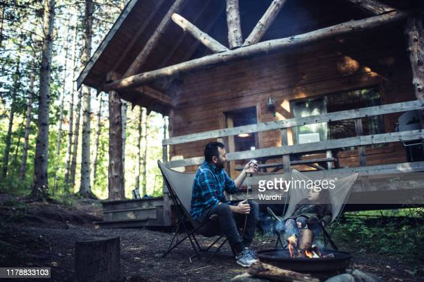 father and daughter  cooking marshmallows on campfire - chalet stock pictures, royalty-free photos & images