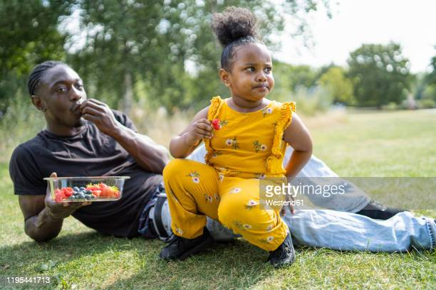 father and daughter eating fruit on a meadow in a park - freshness stock pictures, royalty-free photos & images