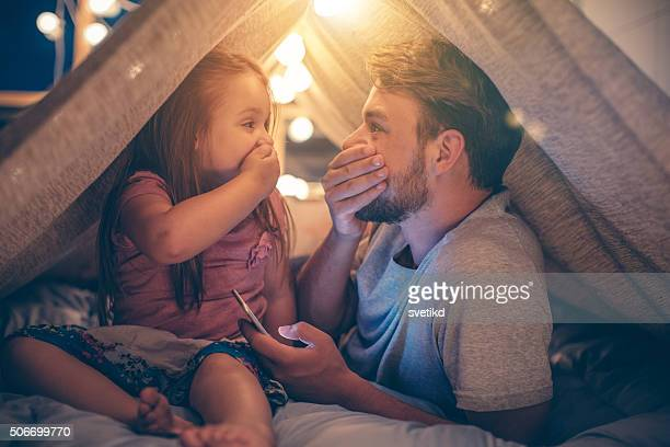 father and daughter enjoying at home. - family with one child stock pictures, royalty-free photos & images