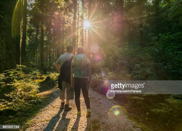 father and daughter hikers gaze at sunlight streaming through forest - montanhas north shore imagens e fotografias de stock