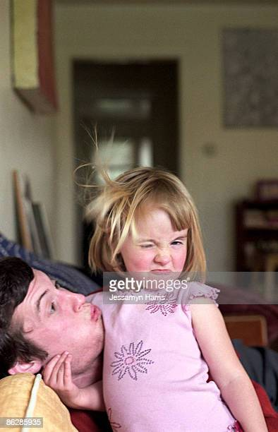 father and daughter making funny faces - jessamyn harris stock pictures, royalty-free photos & images