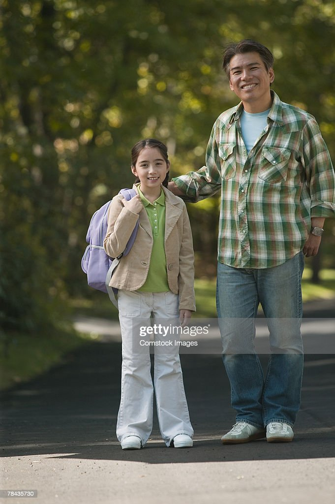 Father and daughter outdoors : Stockfoto