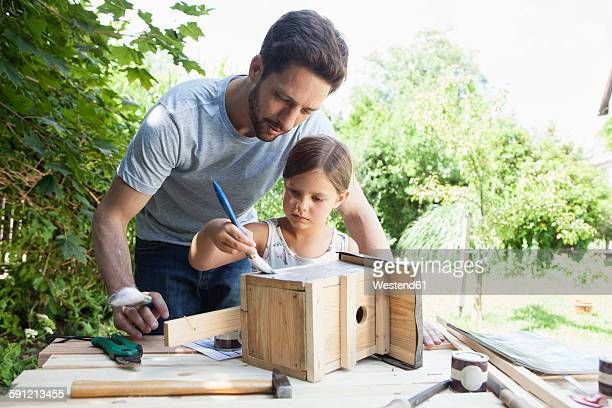 father and daughter painting a birdhouse - birdhouse stock pictures, royalty-free photos & images