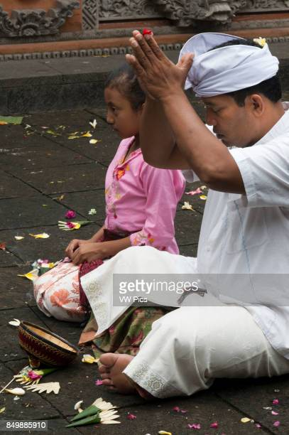 Father and daughter pray and leave offerings in the Holy Monkey Forest during the celebration of Galungan A BALINESE family prays at PURA TIRTA EMPUL...