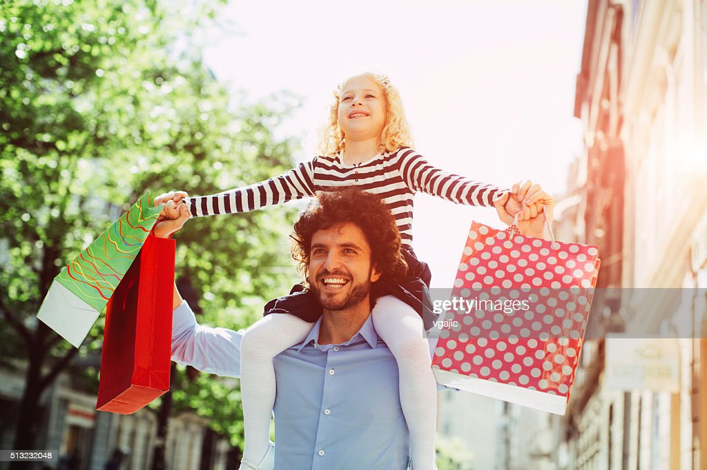 Father And Daughter Shopping Together. : Stock Photo