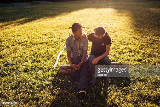 Father and daughter talking while sitting on log amidst grassy field at park during sunny day